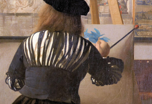 Upon closer inspection, Vermeer reveals very little about the artist's technique except for the fact that he employs a mahlstick to steady his hand. Photo: WikiMedia.org.