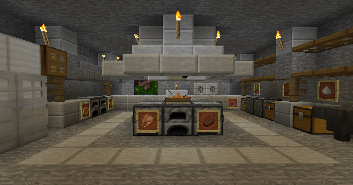 Minecraft projects minecraft kitchen with functional for Minecraft kitchen ideas xbox