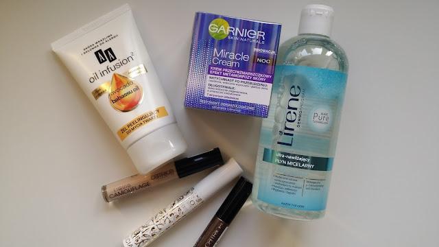 Kilka nowości kosmetycznych | Garnier miracle cream, AA Oil Infusion żel peelingujący do twarzy, Lirene ultra nawilżający płyn micelarny, Catrice liquid camouflage, Kobo tusz do rzęs, Catrice eyebrow filler