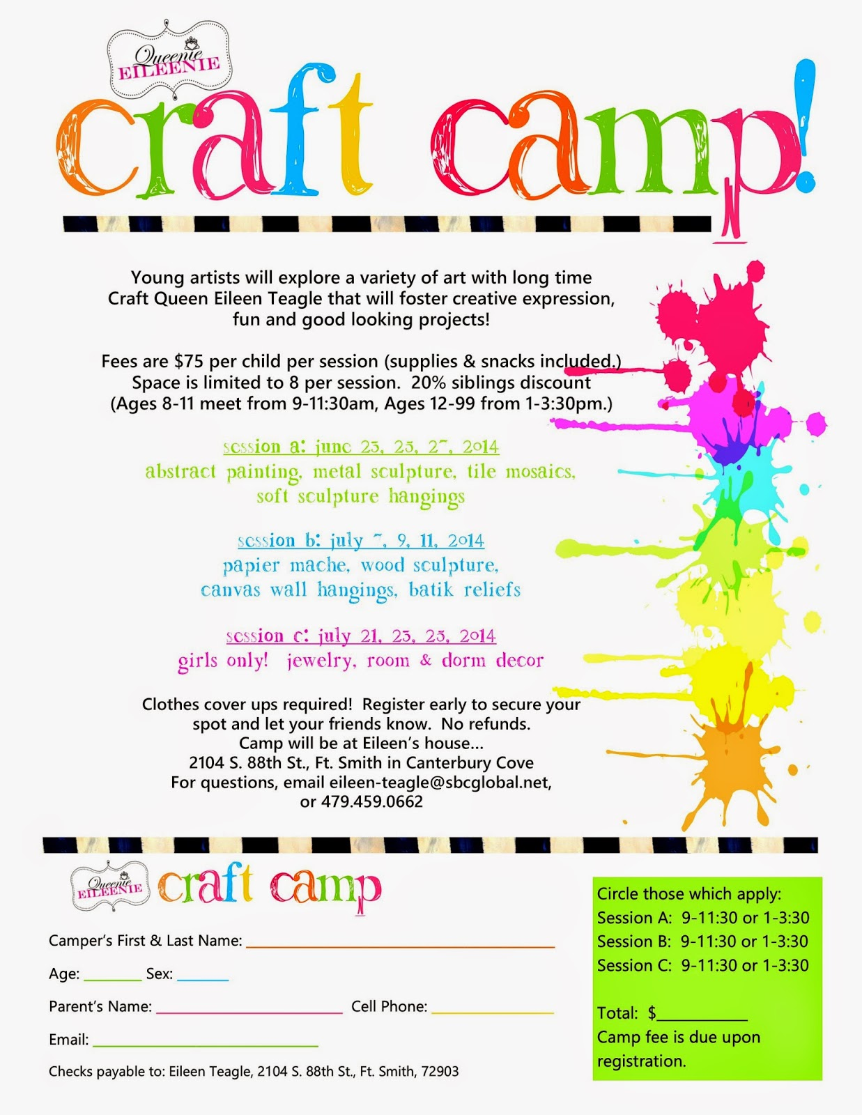 Announcing Summer Craft Camp And Artie on Queen Theme Preschool