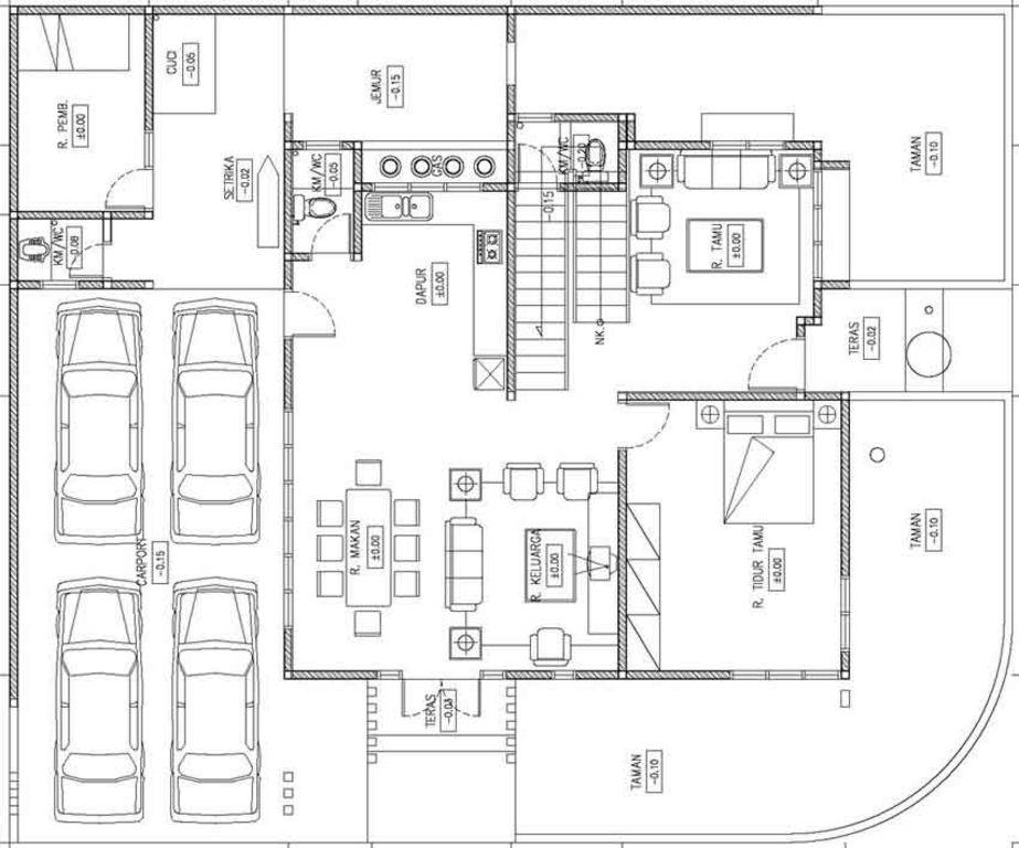 rancangan denah rumah mewah modern idaman