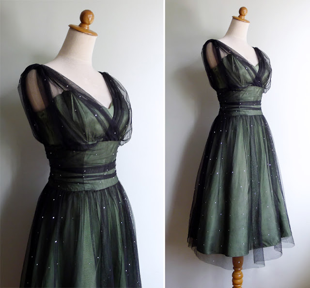 vintage 50's ruched lace tulle party dress
