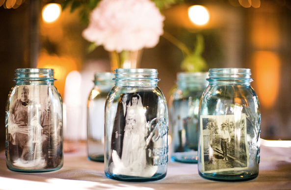 recycled mason  jar into wedding decorations