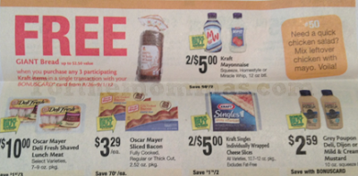 Free Bread at Giant when you buy 3 participating Kraft