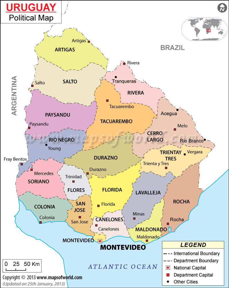 Mapa de Uruguay en el mundo
