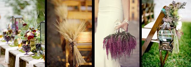 Decoracion con flores silvestres para bodas de otoño