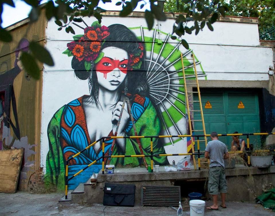 Fashionable Women on Wall - Street Art