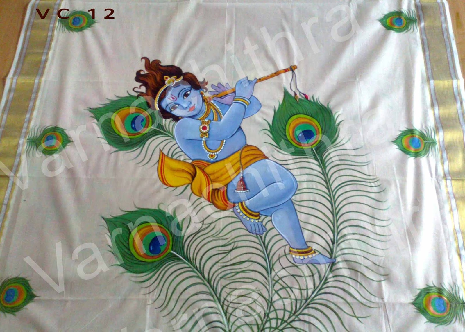Varnachithra sarees peacock flute for Fabric mural designs