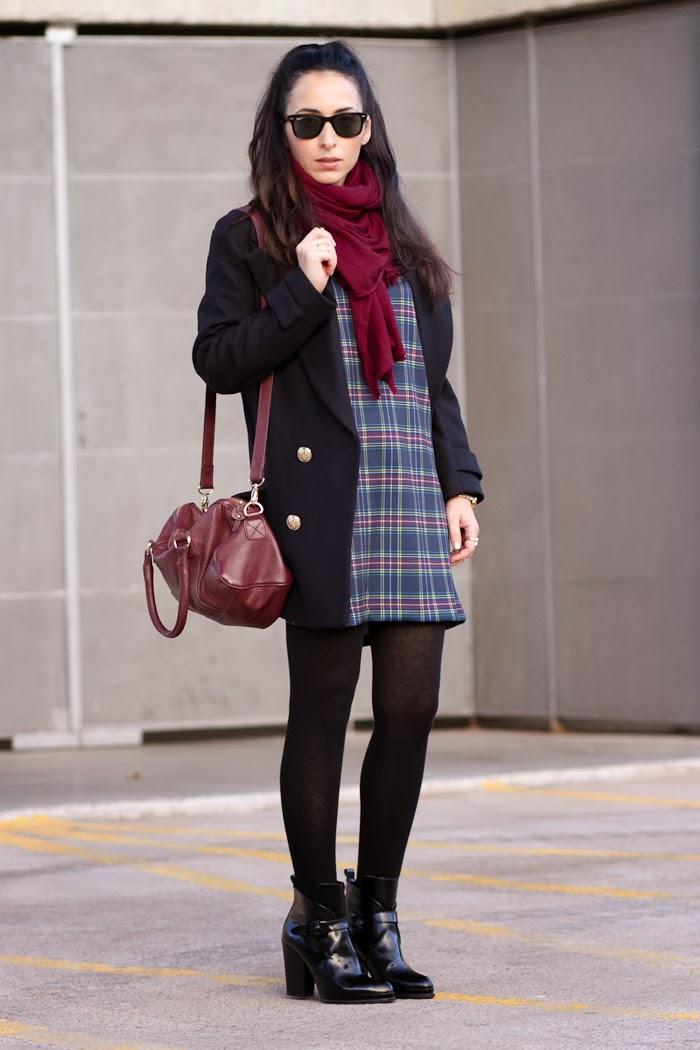 Streetstyle Plaid Dress in blue color with navy blue coat