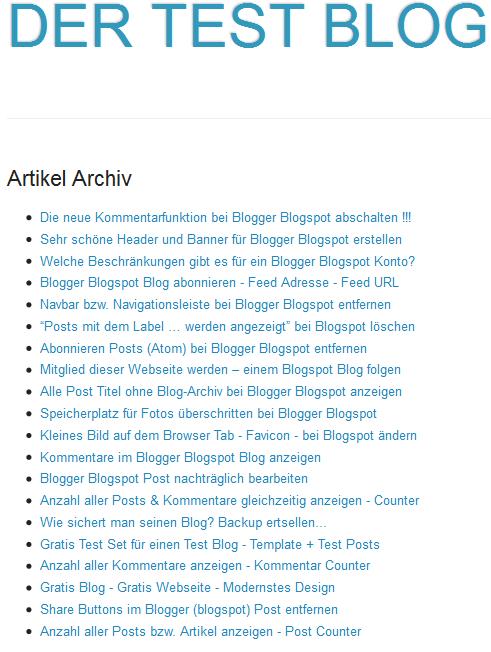 Post Titel auf extra Seite bei Blogger Blogspot anzeigen
