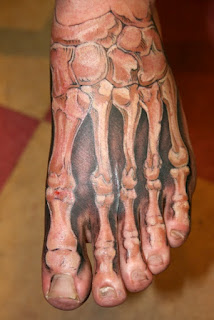 realistic 3d tattoo: the foot's skeleton