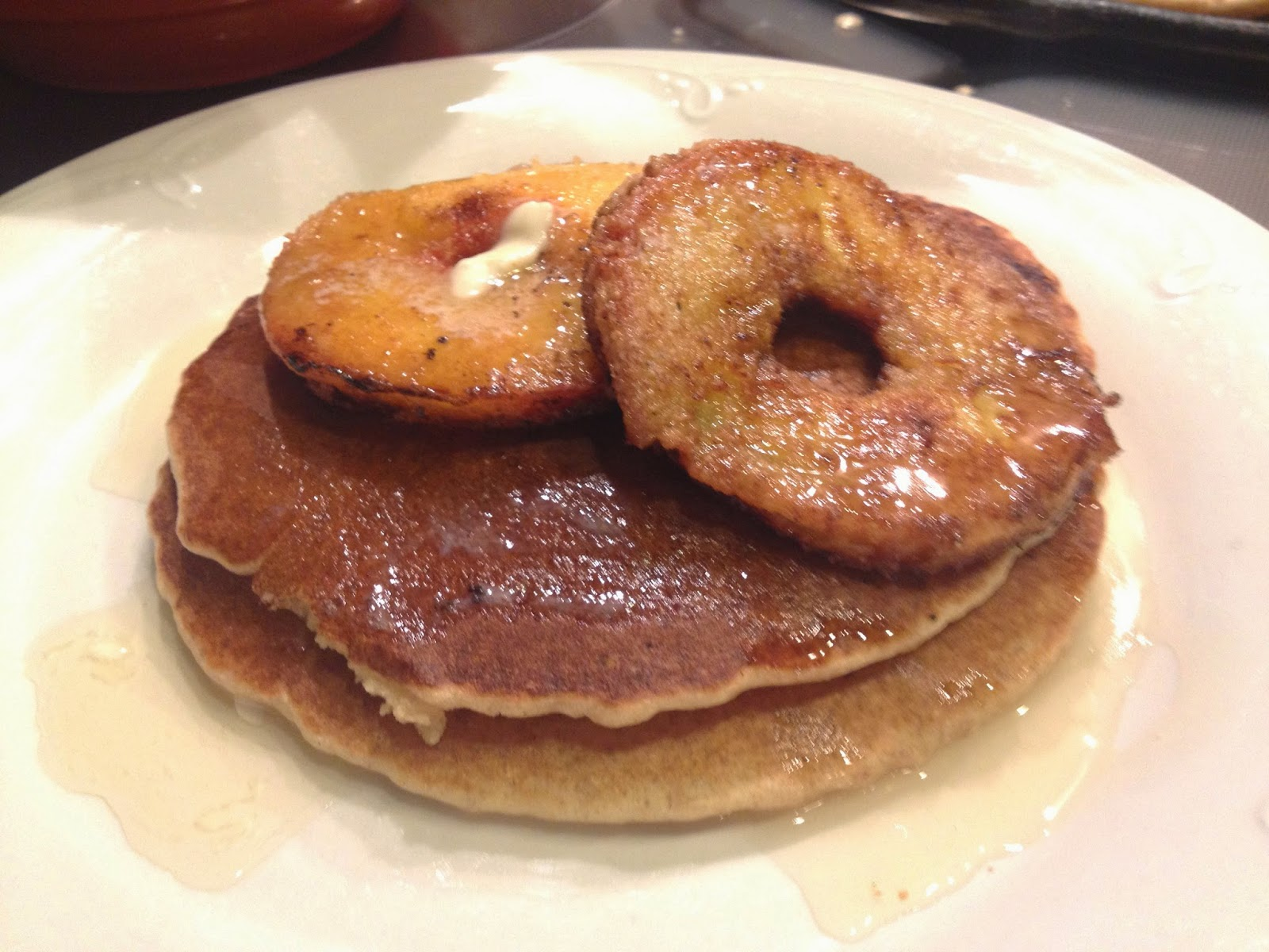 love pancakes topped with fruit. These are whole grain breaded ...