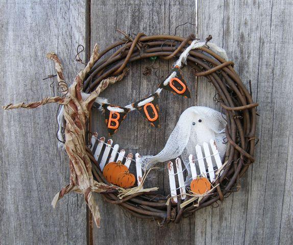 halloween wreath joy letters