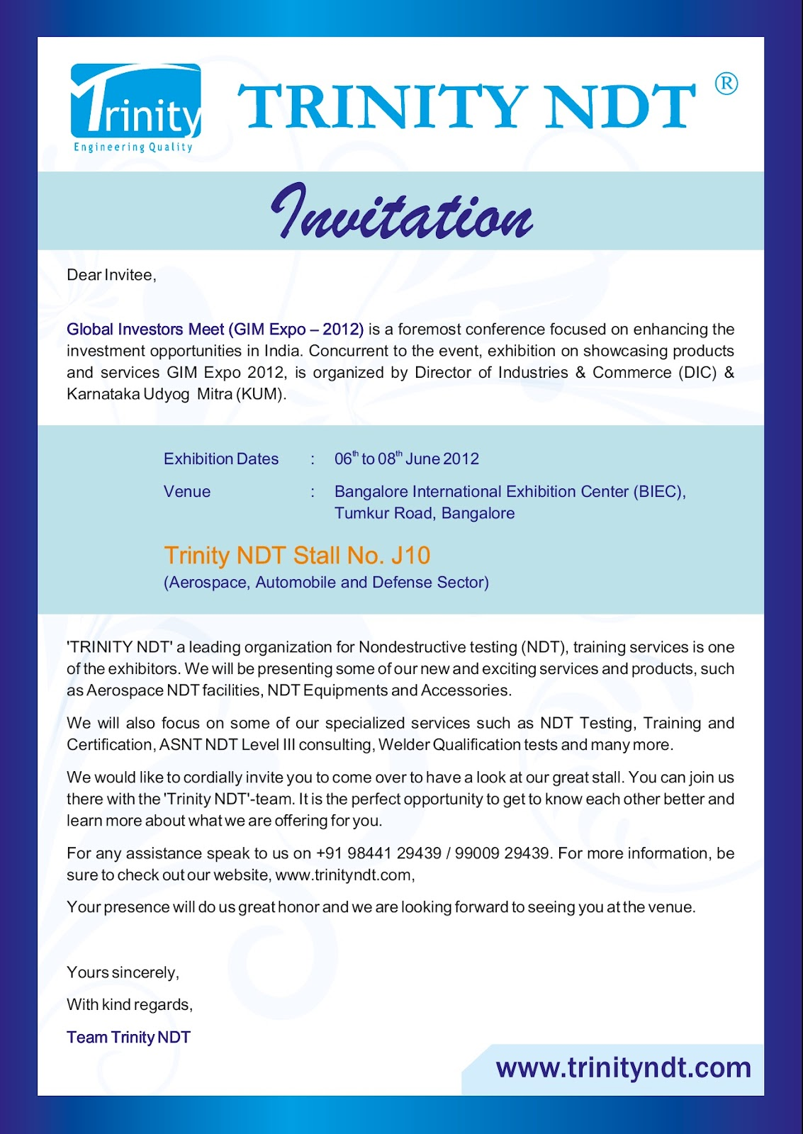 Nabl ndt labs ndt welding inspection training chennai mumbai trinity ndt invitation global investors meet gim expo 2012 from 06 08th june 2012 stopboris Choice Image