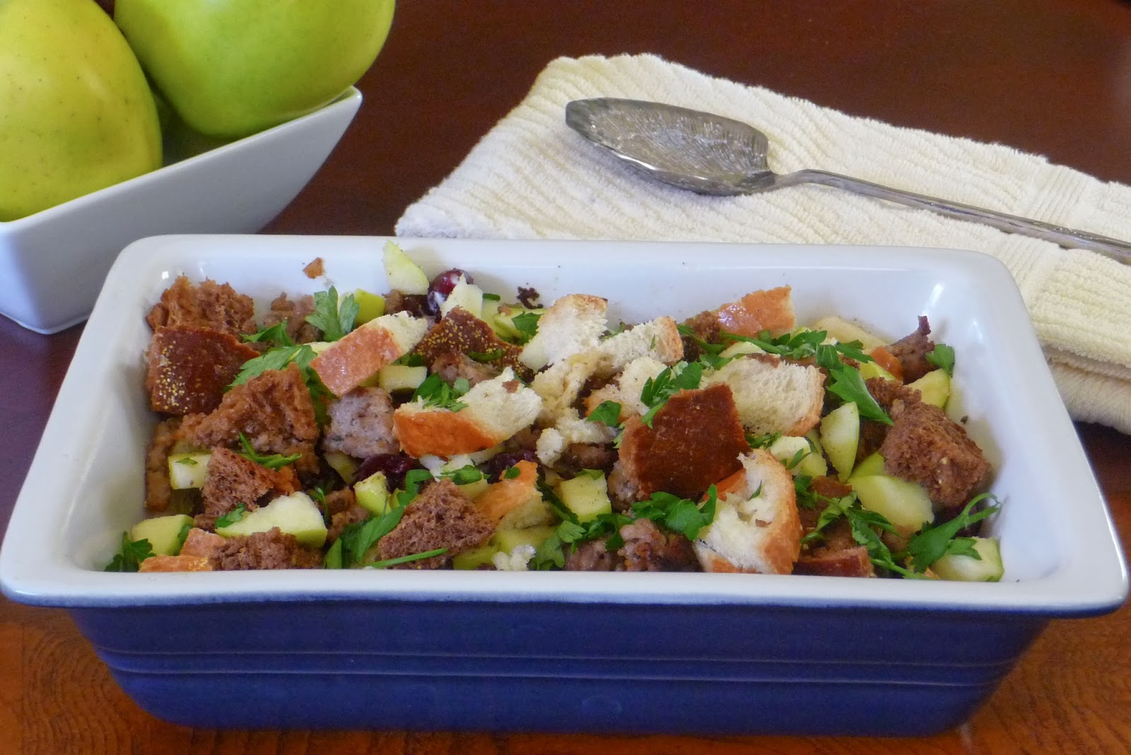 Sausage, Apple, and Cranberry Stuffing | by Life Tastes Good