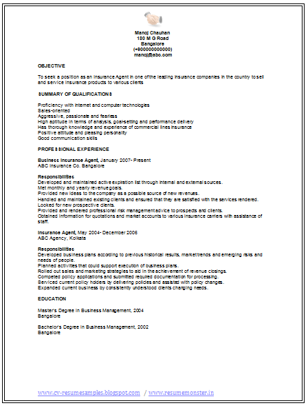 over 10000 cv and resume samples with free download  insurance agent resume sample free