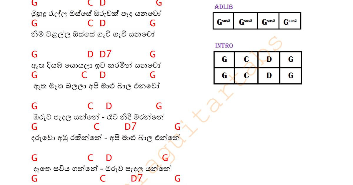 Muhudu Rella Osse Guitar Chords | Sinhala Guitar Chords|Sinhala ...