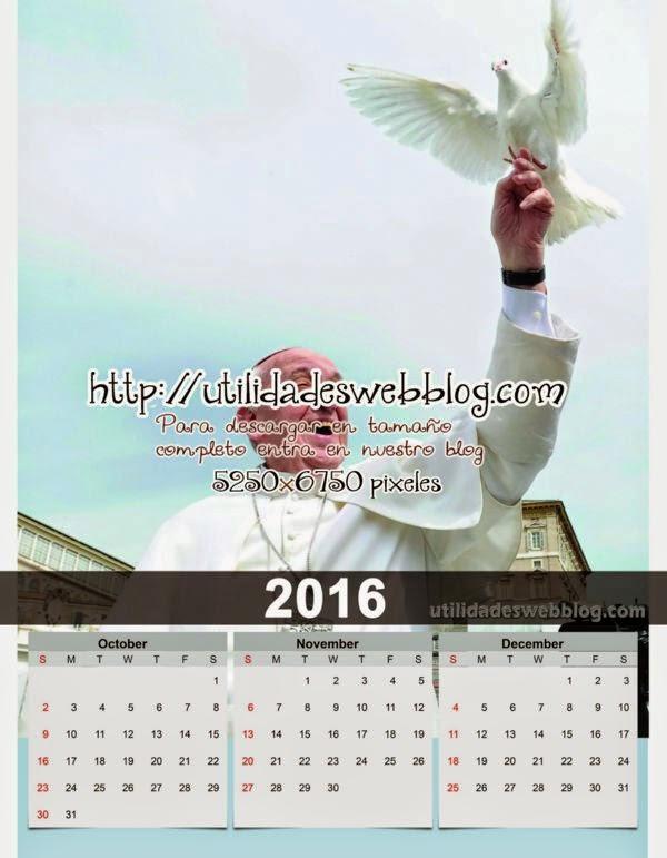 Calendario católico trimestral 2016 Octubre, Noviembre y Diciembre para imprimir del Papa Francisco