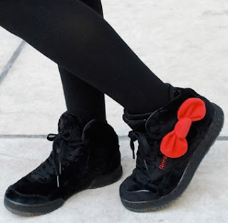 Hello Kitty black plush Sneakers with red bow