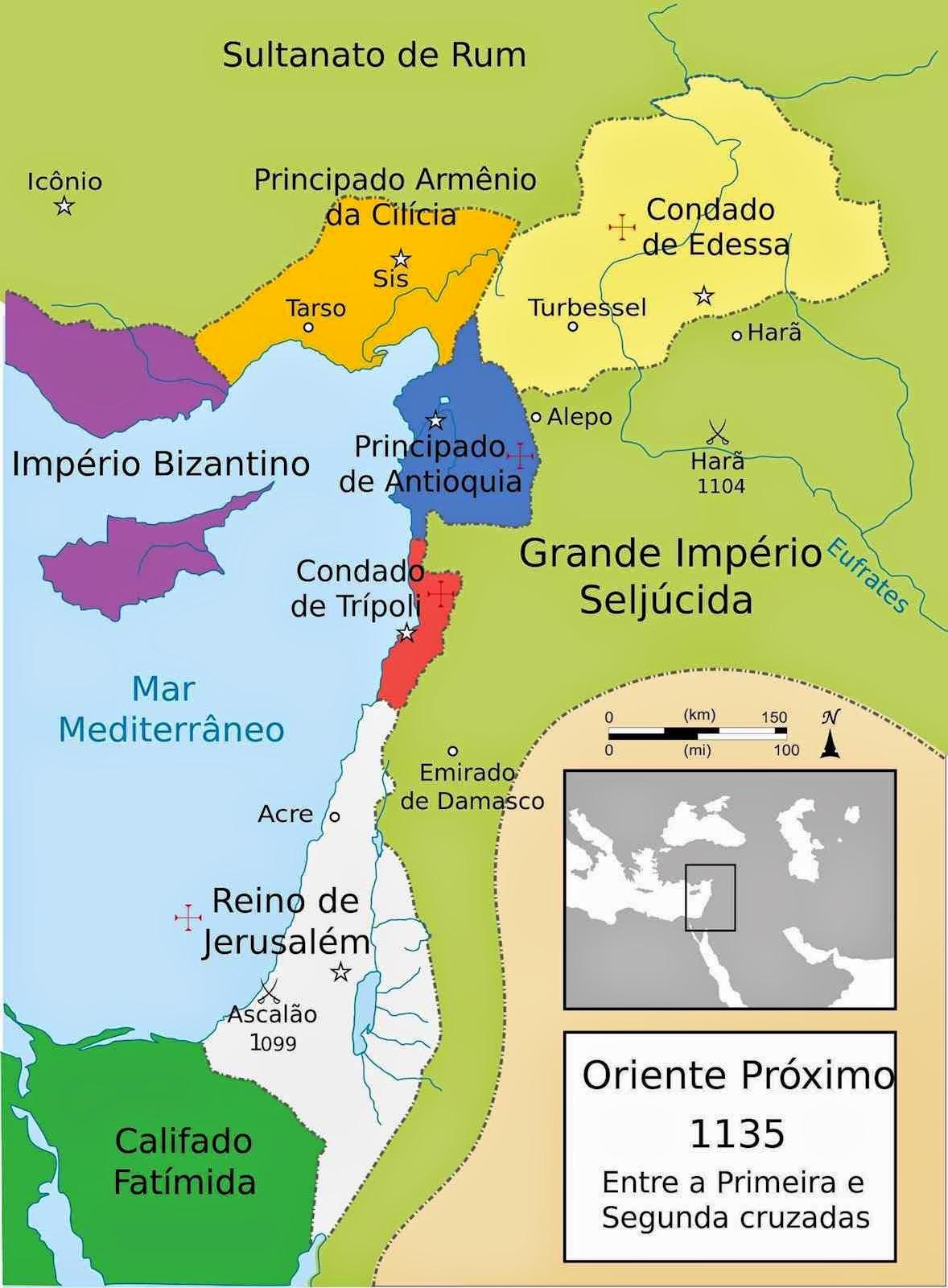 Mapa político do Próximo Oriente em 1135 com os estados cruzados