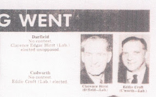A clipping of a piece of an article showing that Eddie Croft stood unopposed for the Cudworth Ward.