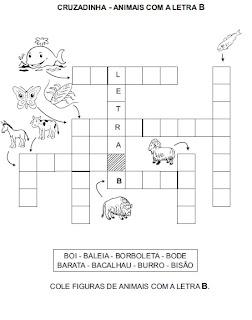 Atividade para alfabetização - Cruzadinha com animais 2.