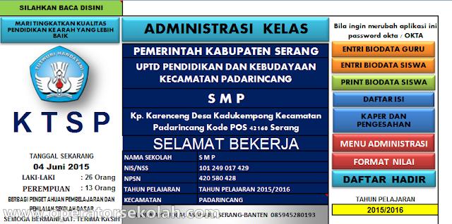 Aplikasi Administrasi Kelas KTSP SMP 2015