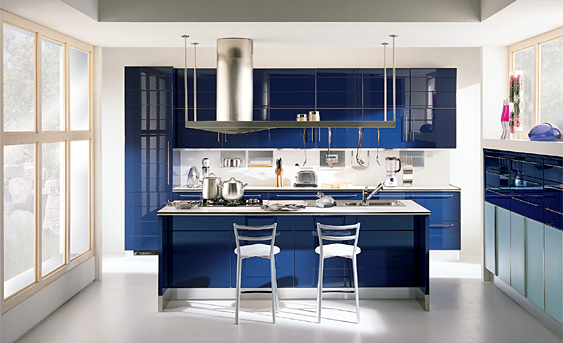 Dise os de cocinas modernas color azul ideas para for Planos de cocinas integrales