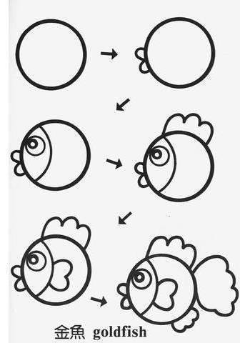 draw fish cartoon tutorial step by step for kids