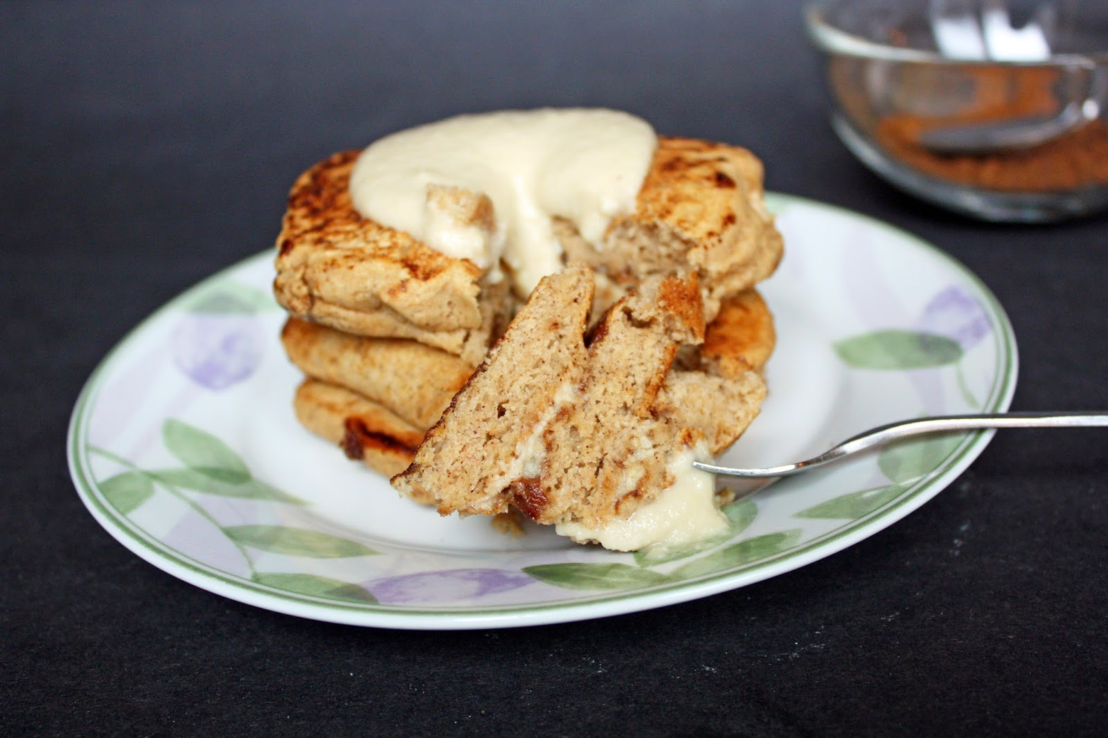 easy vegan cinnamon roll pancakes with cream cheese glaze