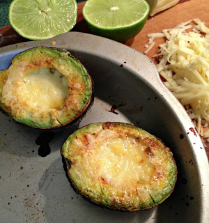 Avocado with chili powder, lime and sharp cheddar broiled until bubbly