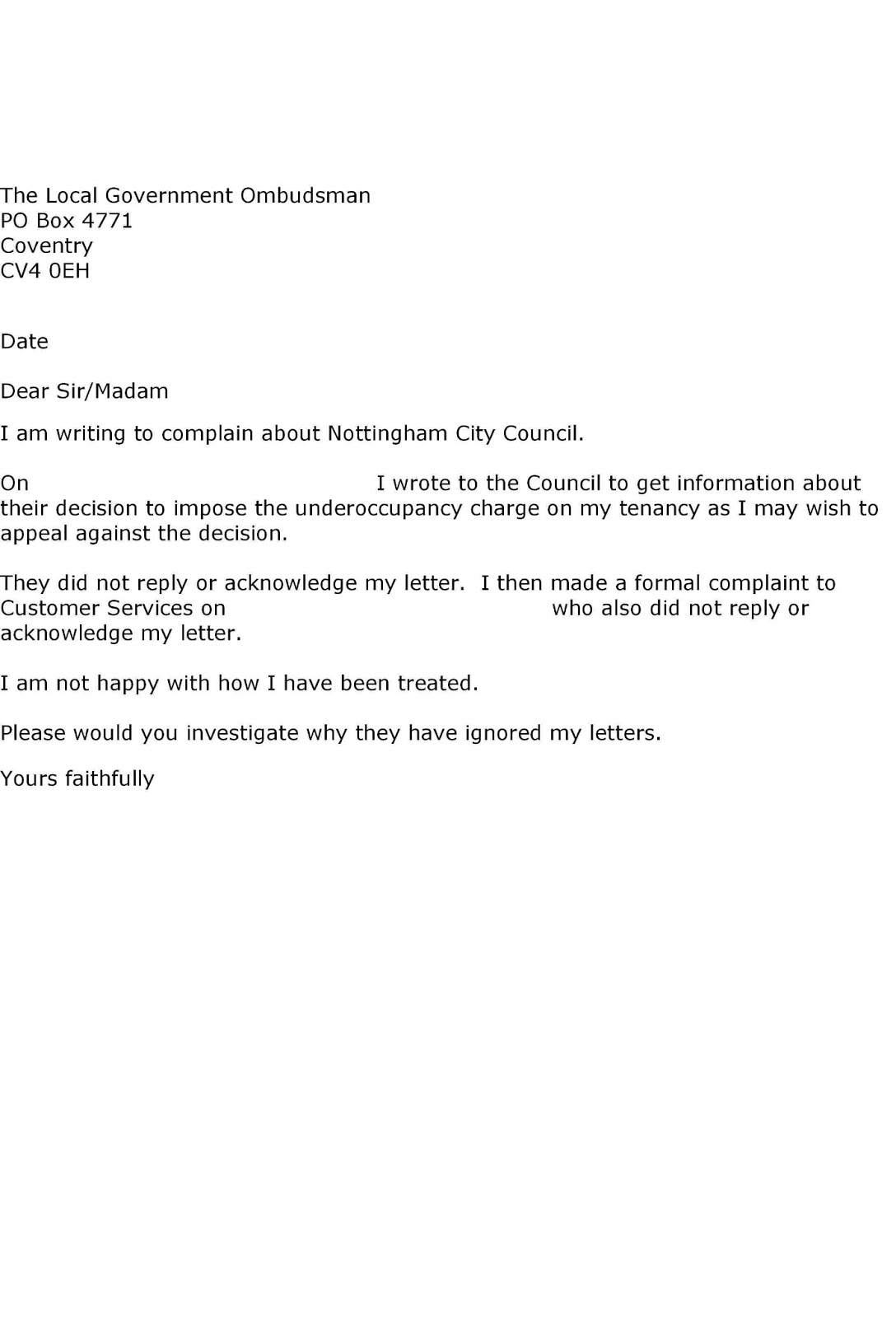 Letter To Council Challenging Reduction Of Housing Benefits