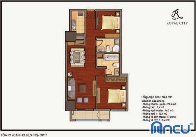 Chi tiết thiết kế căn hộ toà R1 chung cư Royal City diện tích 88.3 m2