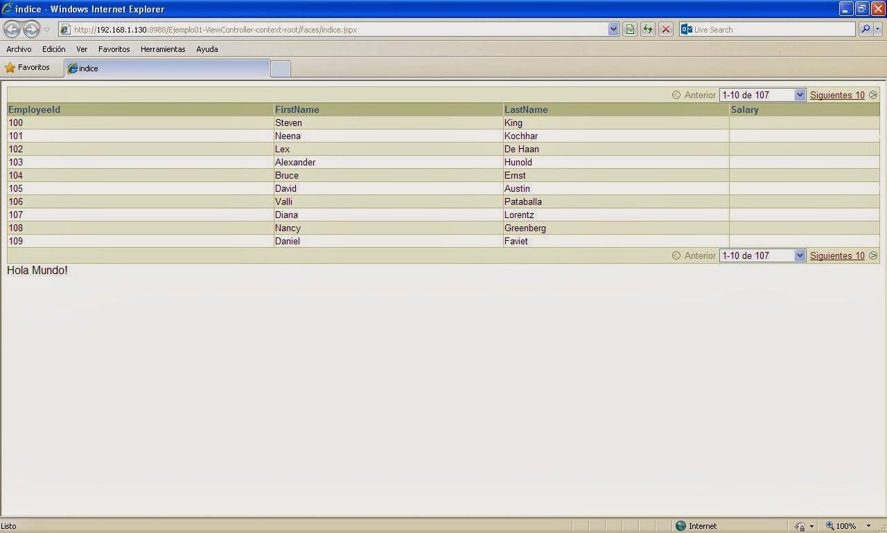 vista resultados navegador