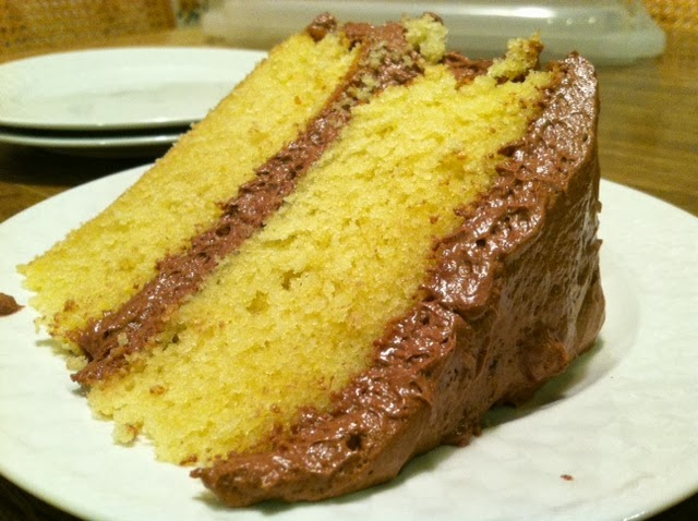 Reversing the Polarity: Yellow cake with fluffy chocolate frosting