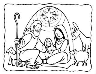 Pesebre del niño jesús para colorear