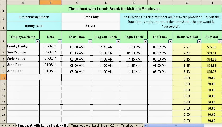 Employee Break And Lunch Schedule Template | newhairstylesformen2014 ...