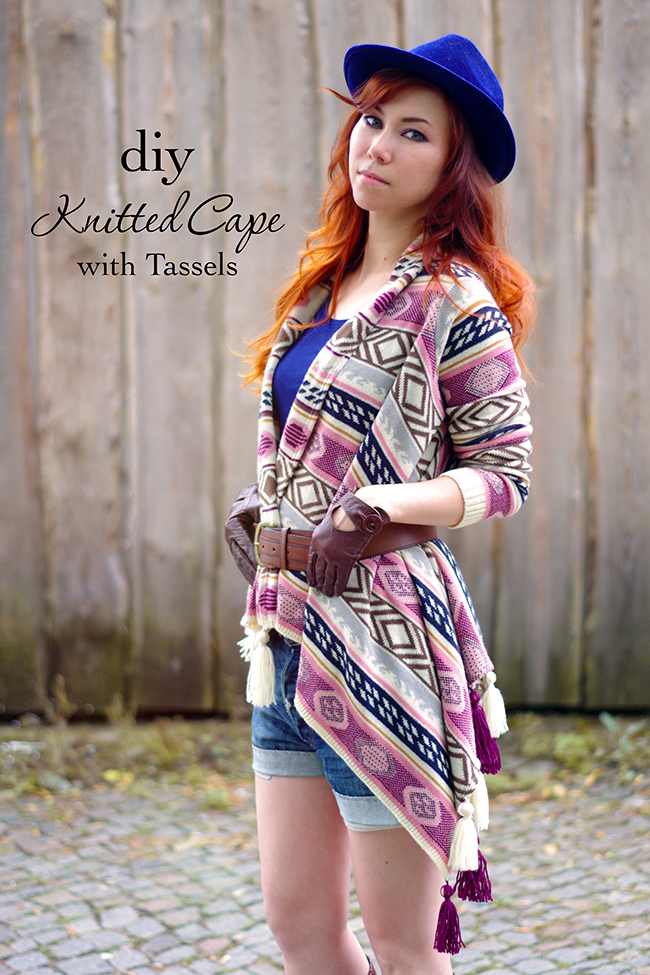 DIY knitted cape with tassels.
