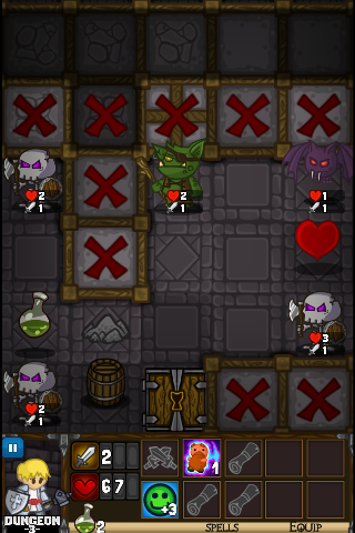 Le roguelike Dungelot sur Android