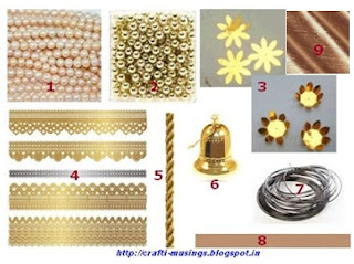 Materials required for making golden flowers toran