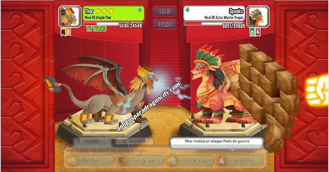 imagen de la batalla contra el dragon guerrero azteca