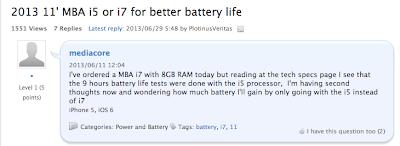 macbook air 2013 i5 i7 バッテリーの保ち