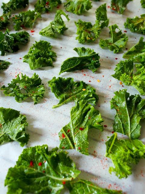Recipe: Smoked Paprika and Garlic Kale Chips.