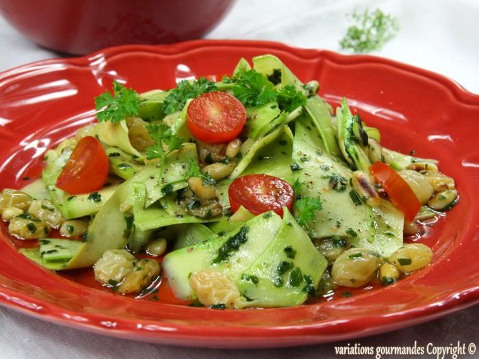 Marvelous Salade De Courgettes Cuites #9: Salade De Courgettes De Nice, Coriandre, Raisins Secs Et Pignons