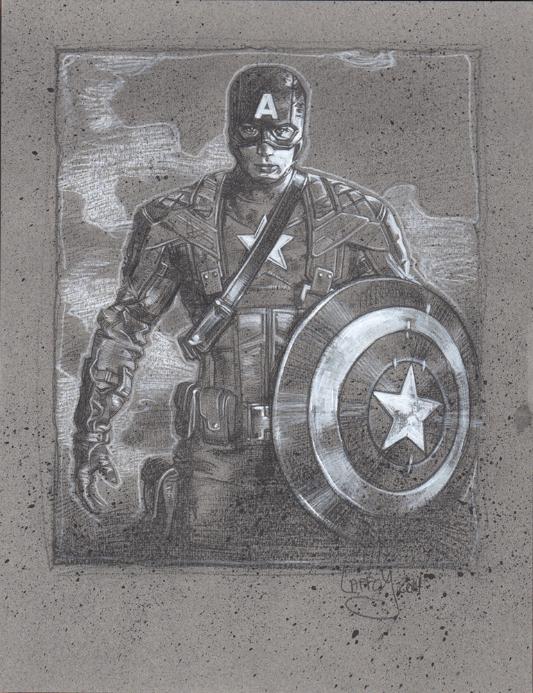 Chris Evans Captain America, Artwork Copyright © 2014 Jeff Lafferty