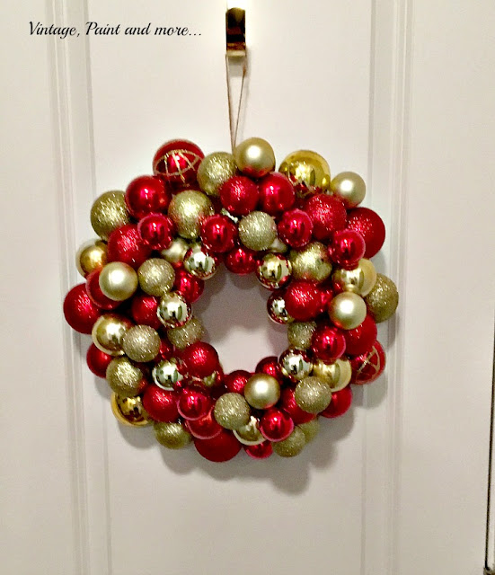 Vintage, Paint and more... DIY Ornament Wreath done with dollar store ornaments and a foam wreath form