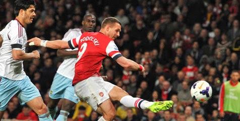 Skor Akhir Arsenal vs West Ham 16-04-2014