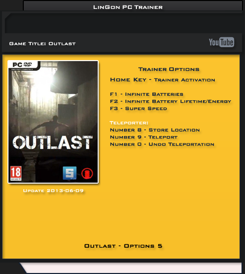 Outlast +5 Trainer [LinGon]