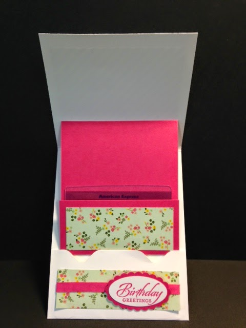My creative corner wetlands and mixed bunch gift card holder i used the mixed bouquet set for the flower i stamped it using melon mambo ink the center was stamped using daffodil delight and punched out using the m4hsunfo