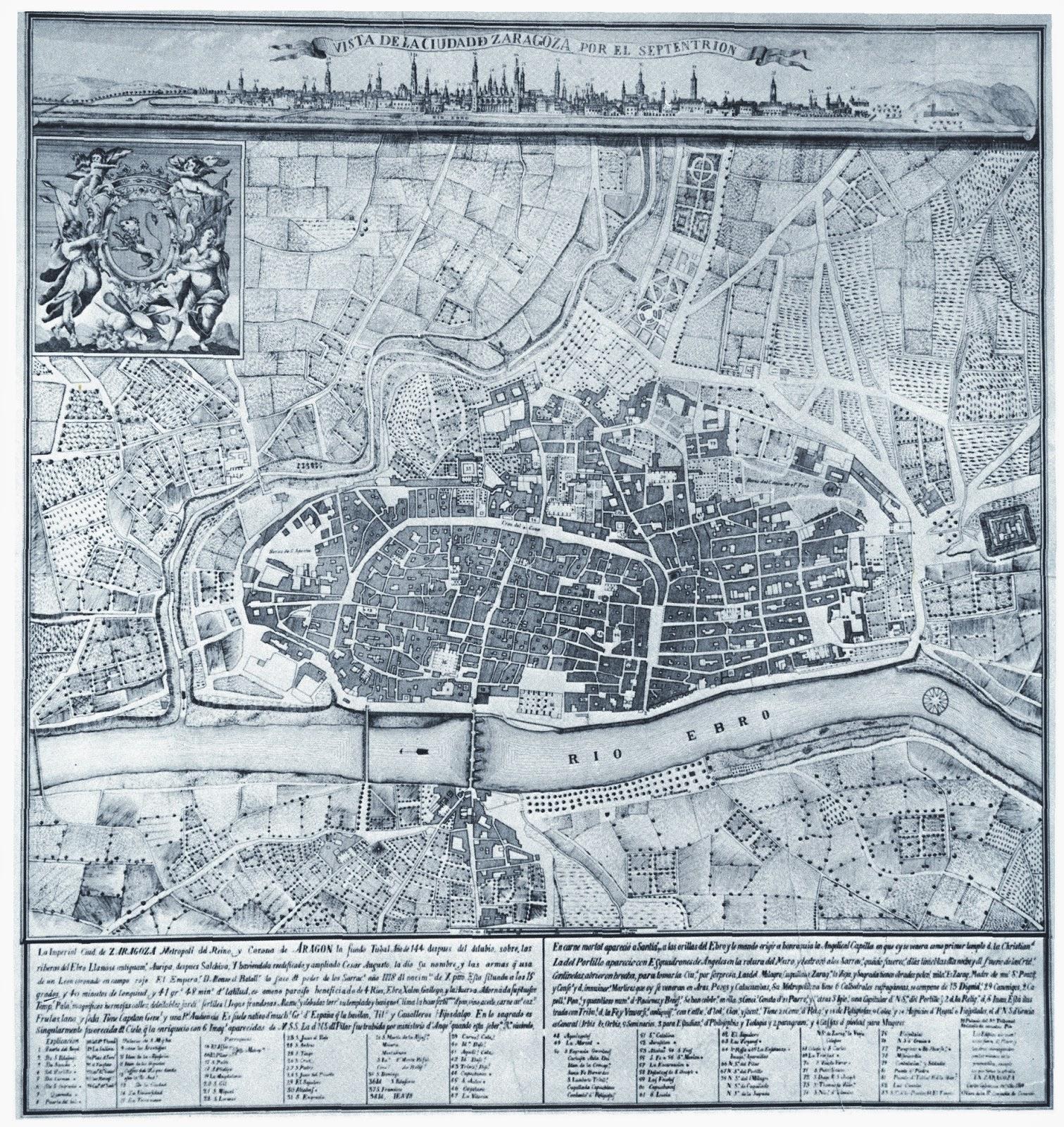 PLANOS Y MAPAS DE ARAGON: 1734   VISTA DE LA CIUDAD DE ZARAGOZA ...